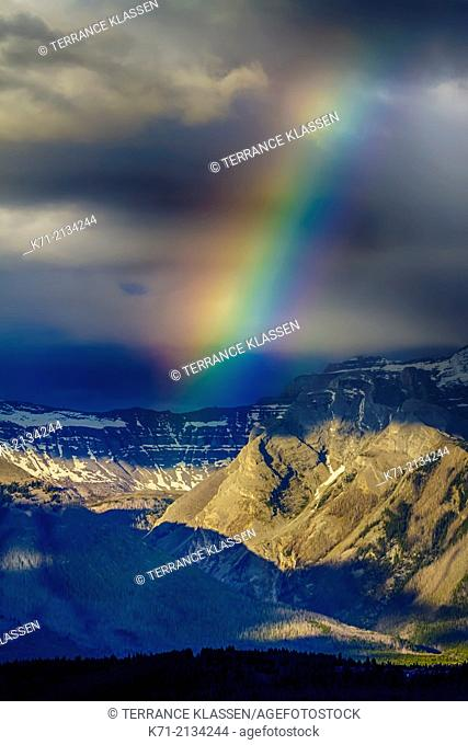 A rainbow in the rocky mountains of Banff National Park, Alberta, Canada