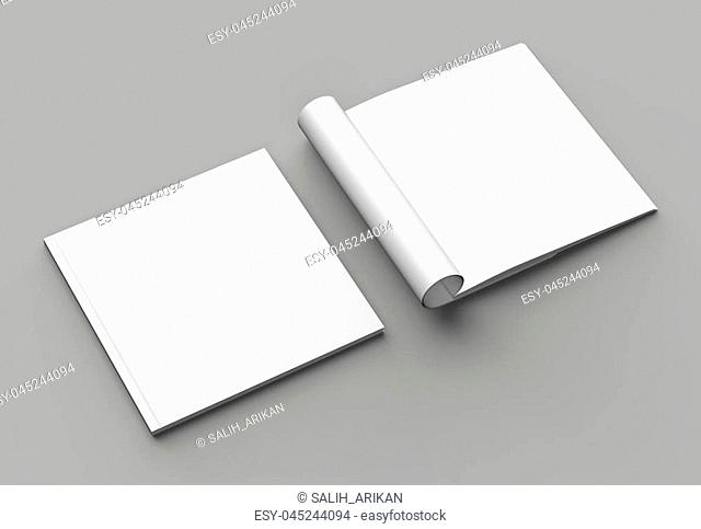 Soft cover square brochure, magazine, book or catalog mock up isolated on gray background. 3D illustrating