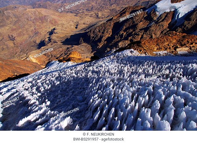 field of penitentes at Illimani, Bolivia, Andes