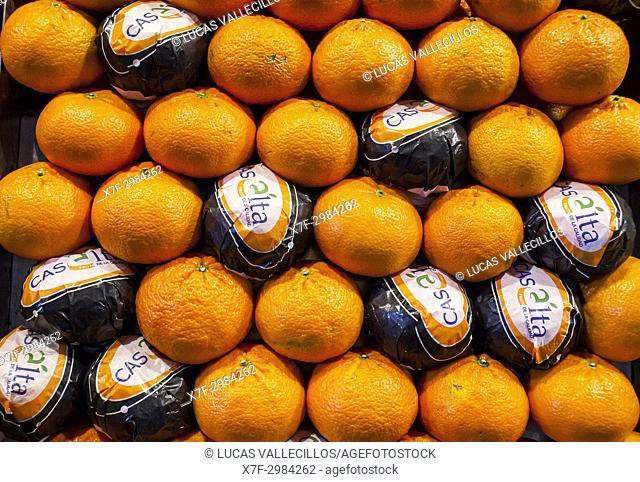 Tangerine, in La Boqueria market, Barcelona. Catalonia, Spain