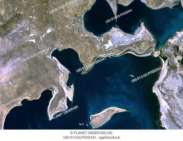 Aral Sea, Kazakhstan & Uzbekistan, 1989, True Colour Satellite Image. Aral Sea in 1989, it lies between Kazakhstan in the north and Uzbekistan, in the south
