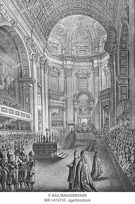 The Vatican council, historic steel engraving from 1860