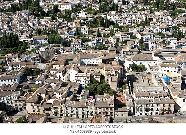 Albaicin district viewed from the Alhambra, Granada, Andalucia, Spain
