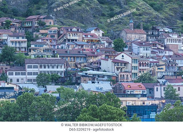 Georgia, Tbilisi, Old Town, high nagle view, dusk