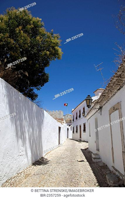 Lane with whitewashed houses in Loulé, Algarve, Portugal, Europe