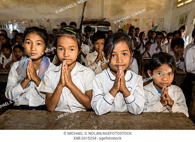 School children in class in the village of Kampong Tralach on the Tonle Sap River, Kampong Chhnang Province, Cambodia, Khmer