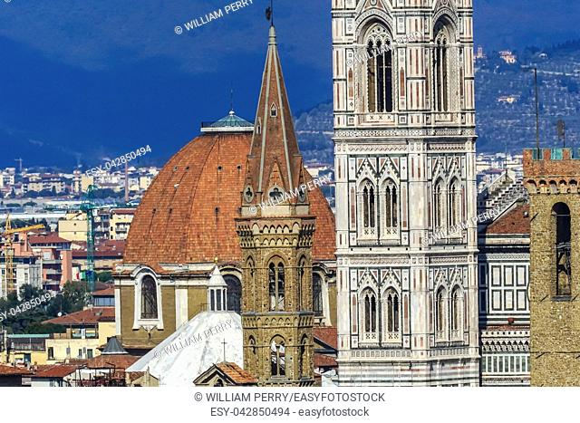 Campanile Domes Bapistry Duomo Cathedral Church Bargello Florence Tuscany Italy. Finished 1400s. Formal name Cathedral di Santa Maria del Fiore