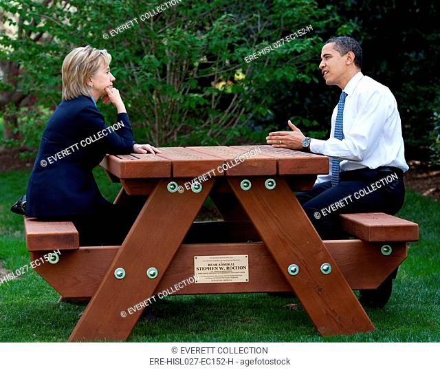 President Obama and Hillary Clinton hold a meeting at a picnic table on the South Lawn of the White House. April 9 2009. (BSWH-2011-8-99)