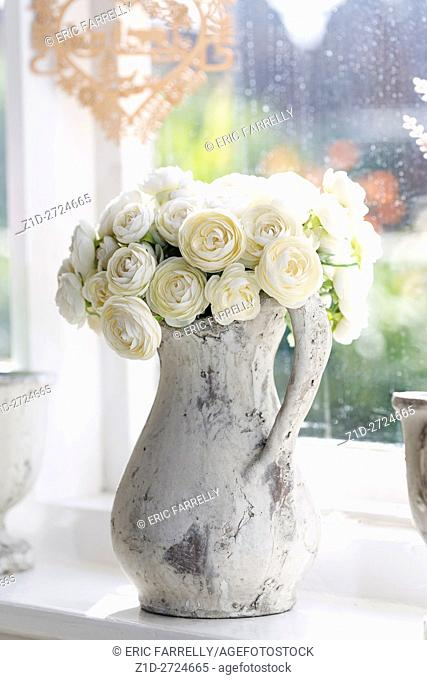 imitation white roses in jug at window. England UK