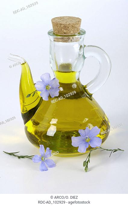 Bottle with linseed oil Linum perenne