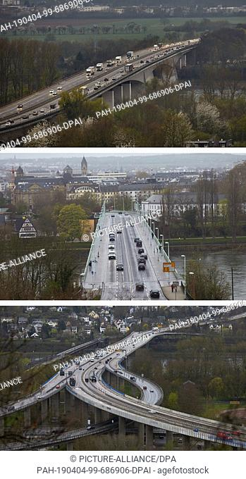 04 April 2019, Rhineland-Palatinate, Koblenz: From the weekend there will also be massive traffic obstructions on the Pfaffendorfer Bridge due to construction...