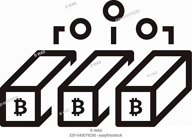 Bitcoin Mining Icon. Modern computer network technology sign. Digital graphic symbol. Crypto Currency technology. Concept design elements