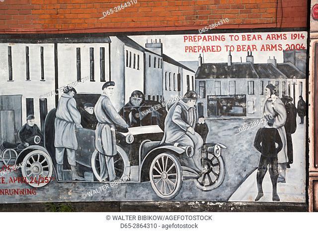 UK, Northern Ireland, Belfast, Falls Road, Unionist pro-British murals along Shankill Road