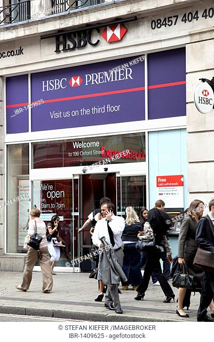 Subsidiary of the HSBC bank on Oxford Street in London, England, United Kingdom, Europe