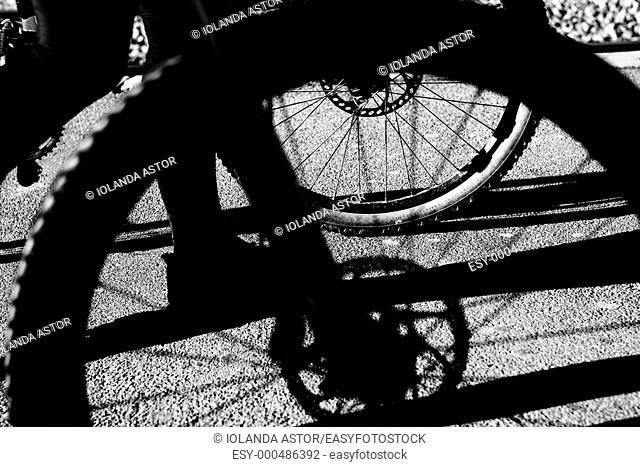 Bicycle wheels  Foreground  Black and white