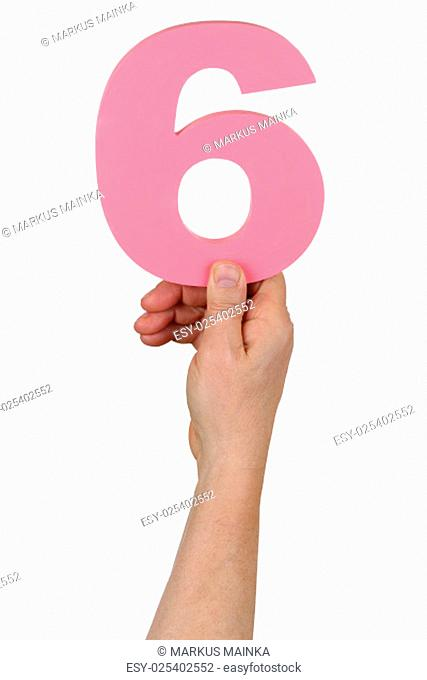 hand holding number or paragraph 6 cut