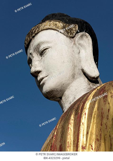 Detail, Buddha statue in Lumbini Garden, Hpa-an, Karen, Kayin State, Myanmar