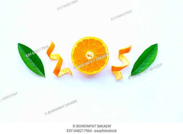 High vitamin C, Fresh orange citrus fruit with green leaves on white background