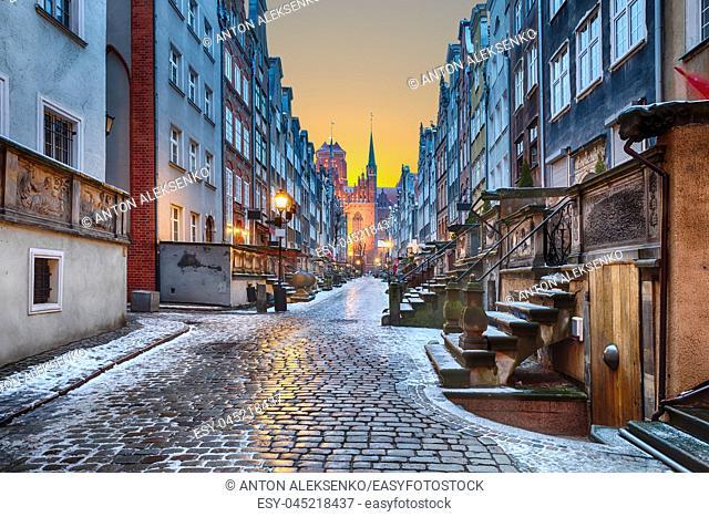 Old european street Mariacka in Gdansk, Poland