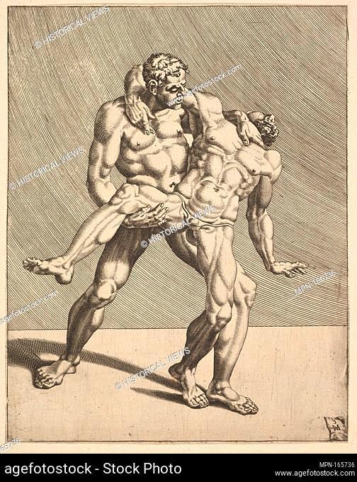 Wrestlers, from Wrestlers, plate 3. Series/Portfolio: Wrestlers; Artist: Dirk Volckertsz Coornhert (Netherlandish, Amsterdam 1519/22-1590 Gouda); Artist: After...