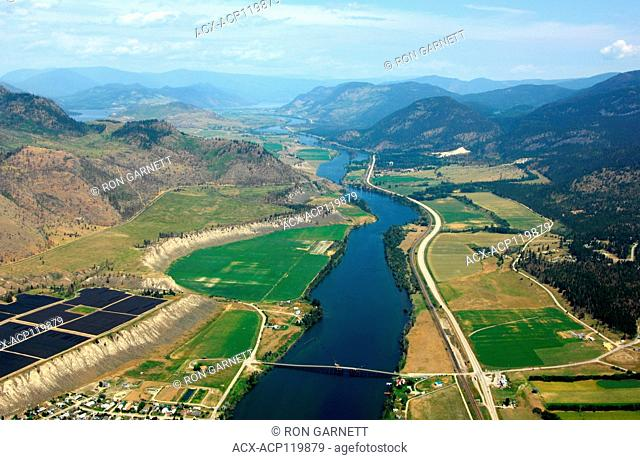 aerial, agriculture, irrigation, South Thompson River, Pritchard, BC