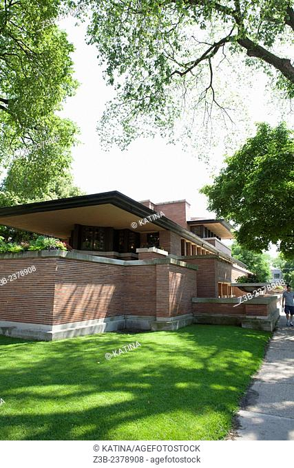 A landmark building, the Frederick C. Robie House designed by Frank Lloyd Wright, is in the Hyde Park neighborhood of Chicago, Illinois, IL, USA