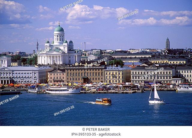 Waterfront view of the city of Helsinki showing St Nicholas Cathedral