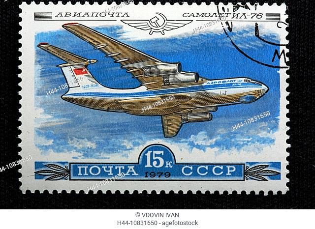 History, aviation, Russian plane Ilyushin-76, Engraving, USSR, Soviet Union, Russia, Russian, History, aviation, plane