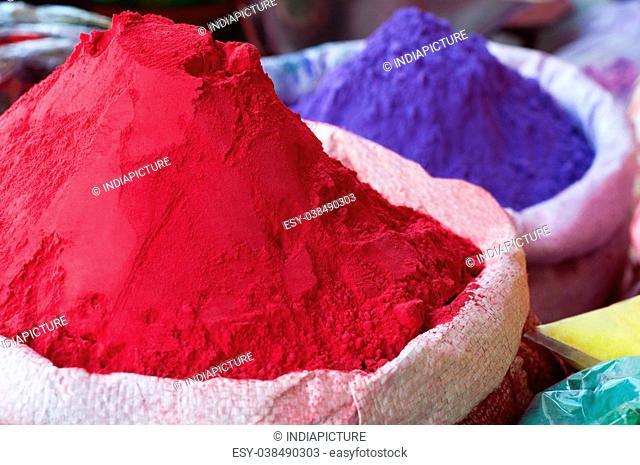 Colorful holi powder for sale at market