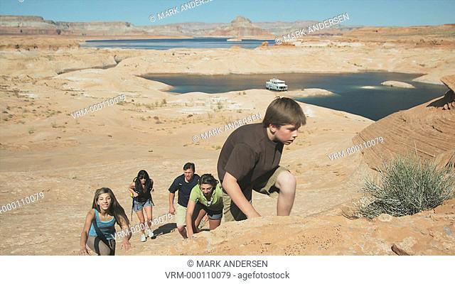 family hiking in the desert