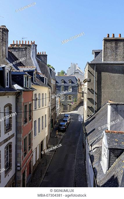 Europe, France, Brittany, Morlaix, View of the 'Rue Ange de Guernisac'