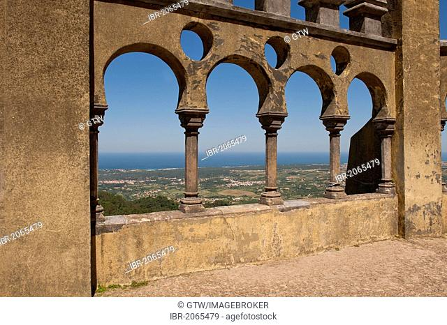 View from the Palacio da Pena over the Sierra and the Atlantic Ocean, Sintra, Unesco World Heritage Site, Lisbon, Portugal, Europe