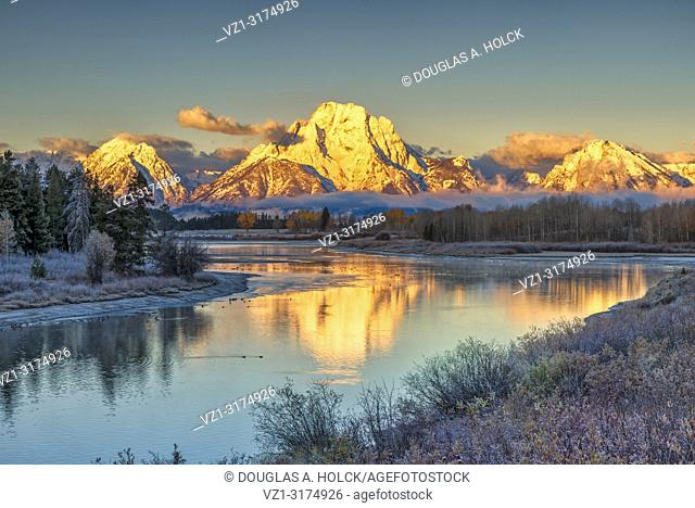 Grand Teton National Park Sunrise on Mount Moran at Oxbow Bend