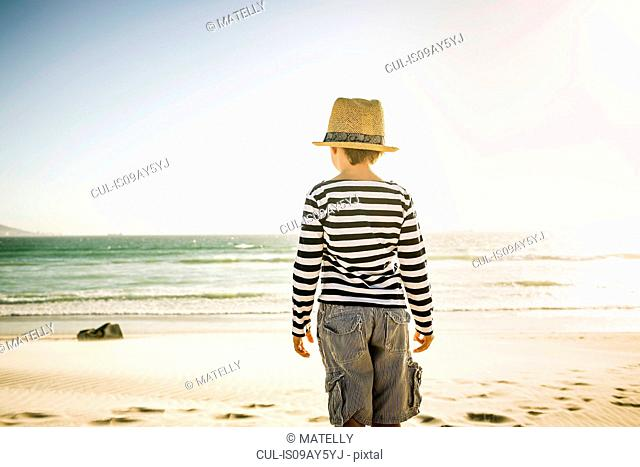 Young boy standing on beach, looking at sea, rear view