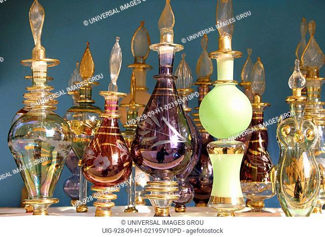 Tunisia, Tunisian Hand-Blown And Painted Perfume Bottles