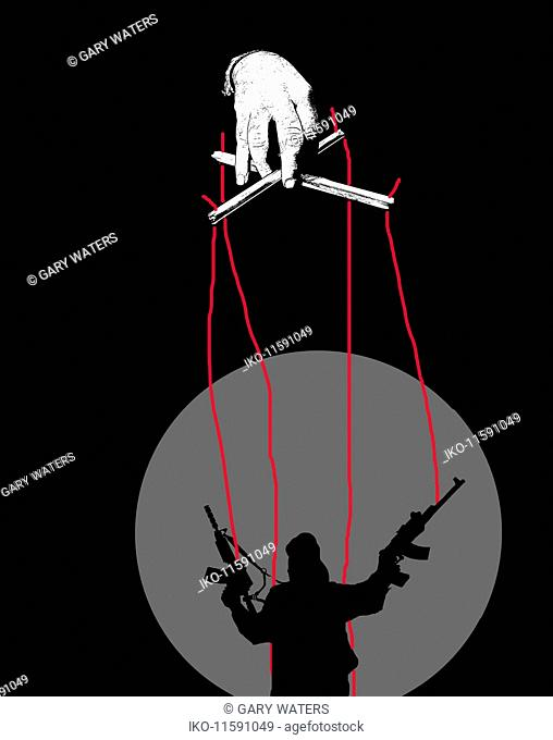 Puppeteer controlling terrorist puppet