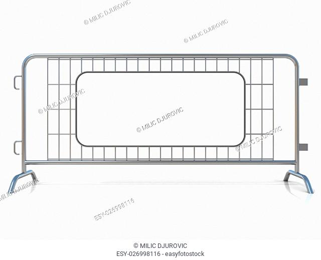 Steel barricades, isolated on white background. Front view, with sign board