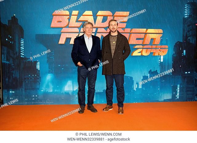 'Blade Runner 2049' photocall in London Featuring: Harrison Ford, Ryan Gosling Where: London, United Kingdom When: 21 Sep 2017 Credit: Phil Lewis/WENN