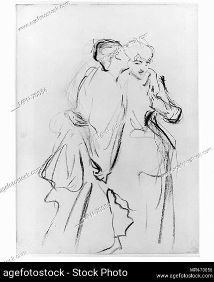 Whispers. Artist: John Singer Sargent (American, Florence 1856-1925 London); Date: ca. 1883-84; Medium: Charcoal and graphite on off-white laid paper;...