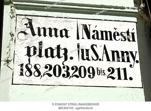 Historic street sign, German and Czech, Prague, UNESCO World Heritage Site, Czech Republic, Europe