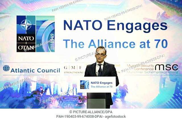 """03 April 2019, US, Washibgton: Heiko Maas (SPD), Foreign Minister, speaks in Washington at an event called """"""""Nato-Engages"""""""" on the occasion of NATO's 70th..."""