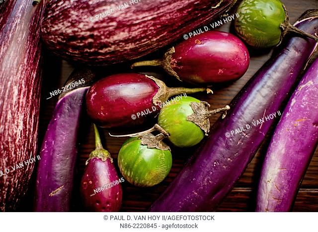 arranged eggplants on table top