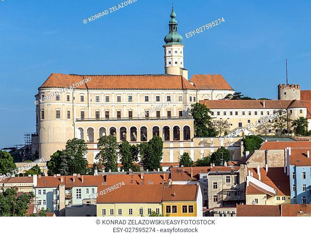 view on Castle in Mikulov town in Czech Republic