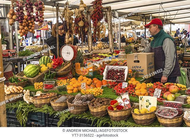 Colourful Market stalls at Campo de' Fiori Market, Rome, Italy