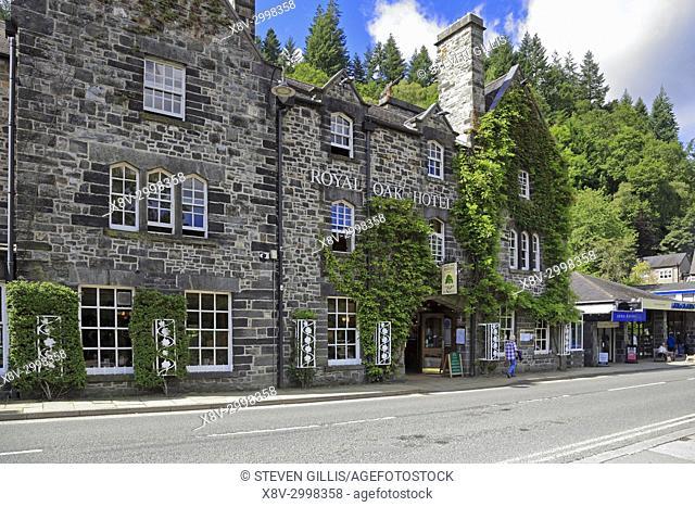 The Royal Oak Hotel, Betws-y-Coed, Snowdonia National Park, Conwy, North Wales, UK