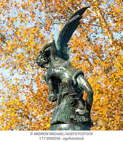 Madrid, Spain. Parque del Retiro (park). Statue: Monumento al Angel Caido / the Fallen Angel. (1878; Ricardo Bellver)