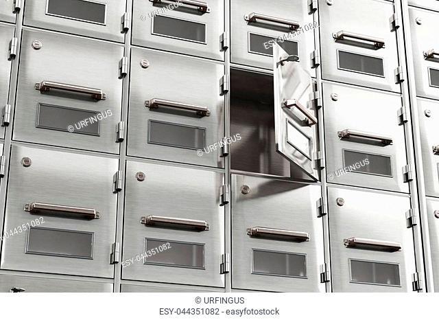 Open the door in the storage cabinet. 3d illustration