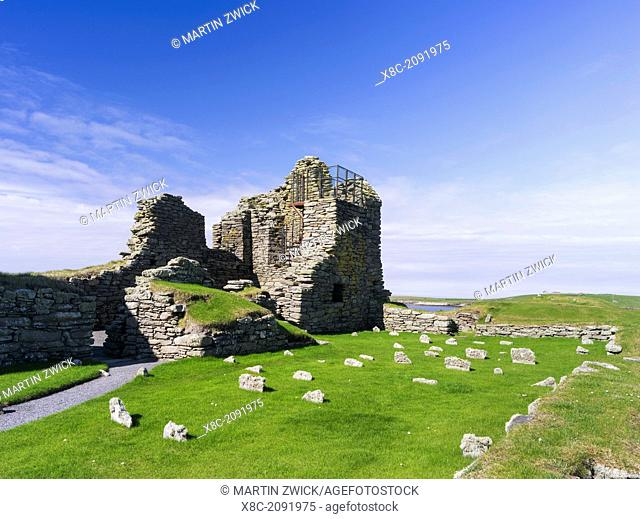Jarlshof, an archaeological site on the Shetland Islands, which was inhabited from neolithics times to the middle ages. The Old House dating to the middle ages
