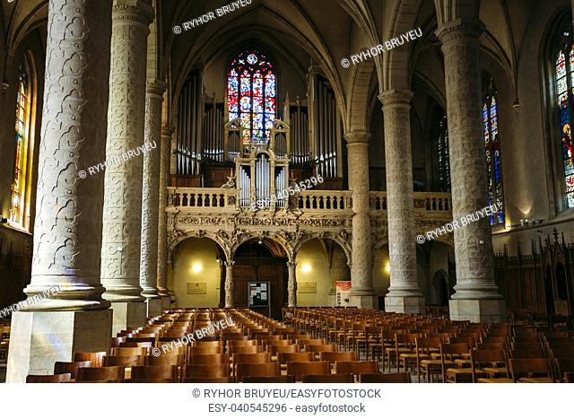 LUXEMBOURG, LUXEMBOURG - JUNE 17, 2015: Interior Notre-Dame Cathedral. Grand Duchy of Luxembourg. It was originally a Jesuit church