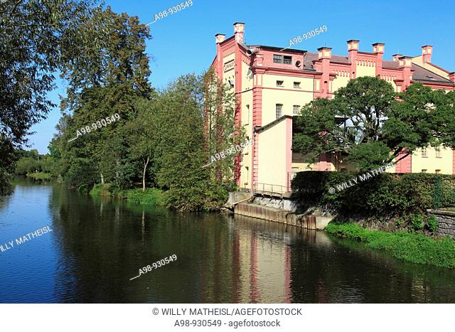 riverside building at the river Uhlava near Klatovy, Bohemia, Czech Republic, Europe